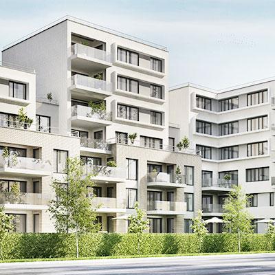 Grey apartment building complex