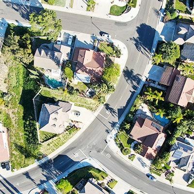 Birds eye view of neighbourhood